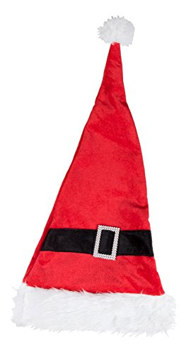 [Novelty Red and White Christmas Santa Holday Hat with Buckle by Clever Creations | One Size Fits Most Christmas Hat For Both Kids and Adults] (Child Grinch Costumes)