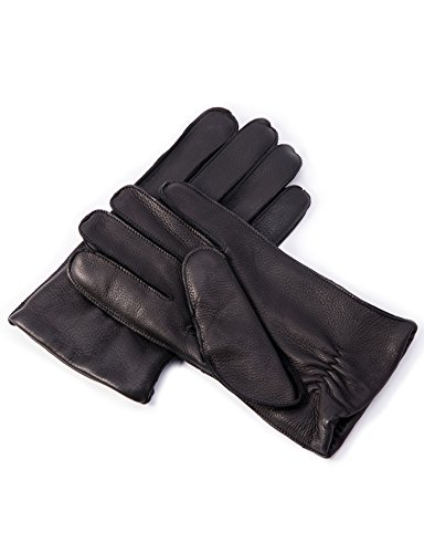 YISEVEN Men's Deerskin Leather Dress Gloves Cashmere Lined Three Points Short Cuff Genuine Natural Luxury and Warm Fur Heated Lining for Winter Driving Motorcycle Work Xmas Gifts, Black 9.5