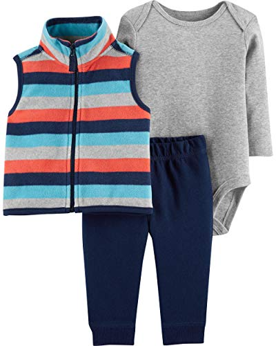 Fleece Baby Fleece Vest - Carter's Baby Boys' Vest Sets (9 Months, Navy/Stripe)