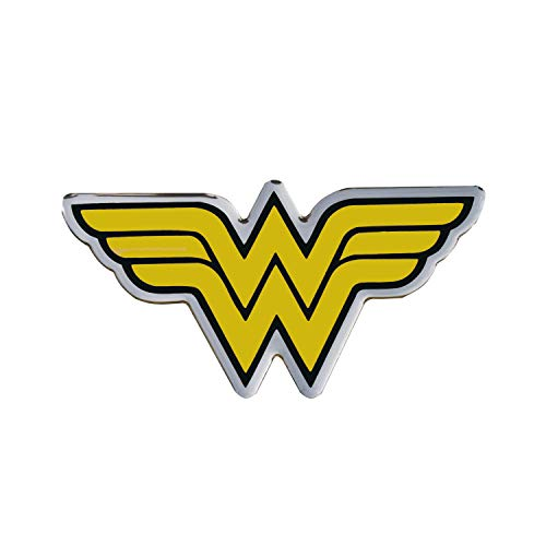 Fan Emblems Wonder Woman Logo Car Decal Domed/Black/Yellow/Chrome Finish, DC Comics Automotive Emblem Sticker Applies Easily to Cars, Trucks, Motorcycles, Laptops, Cellphones, Windows, Almost -