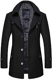 zeetoo Men's Wool Trench Coat Wool Coat Winter Buttons Car Coat Windproof Classic Ja
