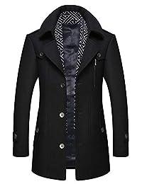zeetoo Men's Wool Trench Coat Wool Coat Winter Buttons Car Coat Windproof Classic Jacket