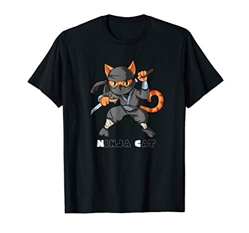Funny Boys Ninja Cat Shirt Martial Arts Anime Kids Tshirt