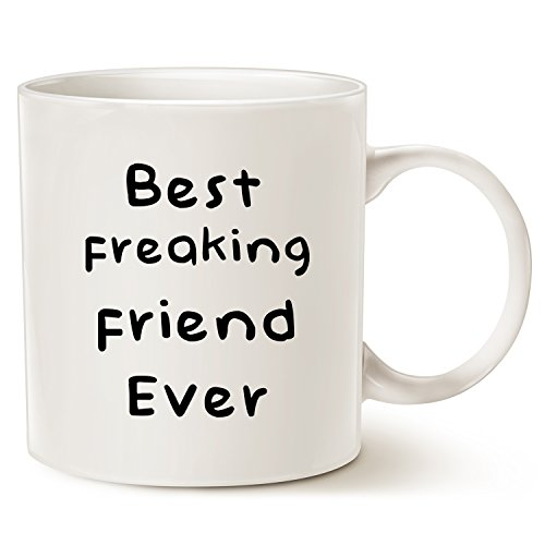 MAUAG Christmas Gifts Best Friend Coffee Mug, Best Freaking Friend Ever Best Holiday Gifts for Friend Cup White, 11 Oz