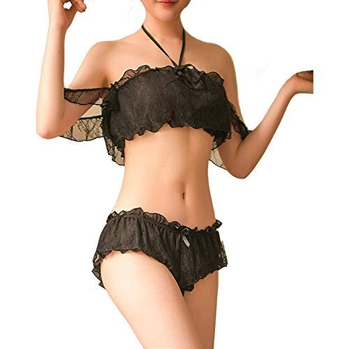(COSPROFE Women's Chiffon Sexy Lingerie 2Pcs Polka Dot Sheer Mesh Underwear Off Shoulder Transparent Bra and Thong Set (Halter Style Black))