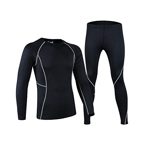 BUMOVE Men's Thermal Base Layer Skiing Underwear Cycling Running Fleece Lined Compression Shirts & Tights