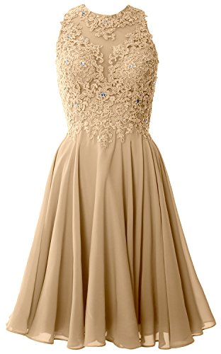 MACloth Women High Neck Lace Cocktail Dress Short Prom Homecoming Formal Gown (26w, Champagne) (Plus Size 90s Fancy Dress)