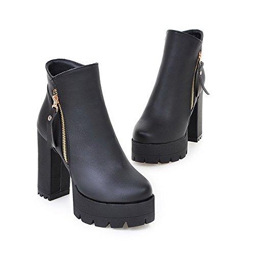 AgooLar Damen Wasserdicht Plattform PU Reißverschluss Rund Zehe Stiefel, Aprikosen Farbe, 41