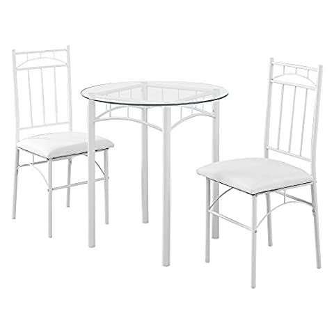 Monarch Specialties Dining Set - 3Pcs Set / White Metal / Tempered Glass (White Bistro Dining Table)