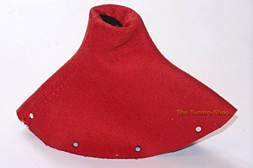 (The Tuning-Shop Ltd Fits Audi TT Mk1 1998-2006 Shift Boot Custom Made Shift Boot Red Genuine Suede With Red Stitching )