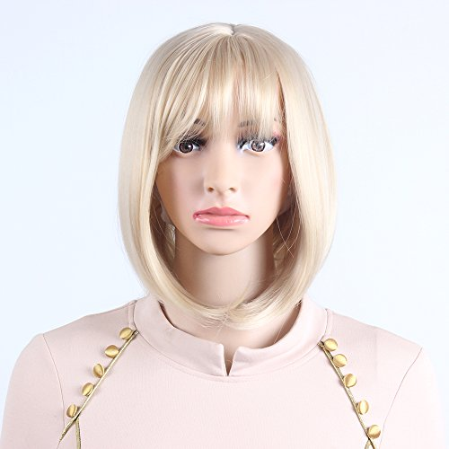 Sif Straight Wigs for Women Bob Blonde style Synthetic Wig Natural Looking Heat Resistant Wigs with Free Wig Cap - I Shape Which Face Have Do