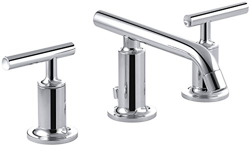 KOHLER K-14410-4-CP Purist Widespread Lavatory Faucet with Low Spout and Low Lever Handles, Polished Chrome
