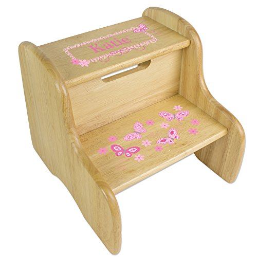 - Personalized Natural Two Step Stool with Pink Butterflies Design
