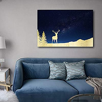 Golden Deer On Cosmic Mountain - Canvas Art