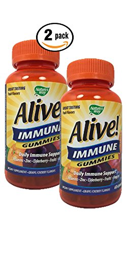 Pack of 2 Natures Way Alive! Immune Gummies 120 count Daily Immune Support Gummies Grape/Cherry Flavors