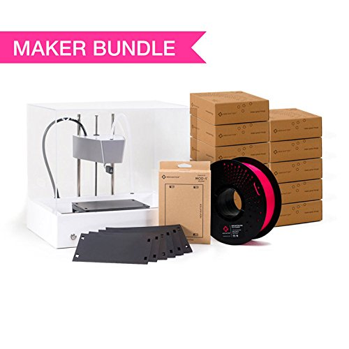 New Matter MOD-t 3D Printer Maker Bundle - Includes 9 Spools of Filament and 2 3-Packs of Print Surface Plates