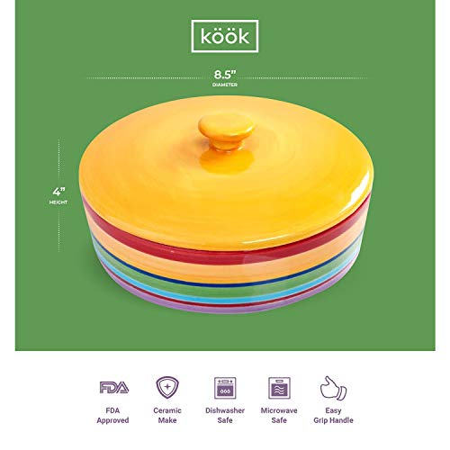 Ceramic Tortilla Warmer by KooK, Colorful Rainbow Design, Holds up to 12 tortillas