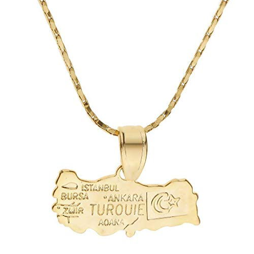 - 18K Gold Plated Country Pendant Necklace Kitsch Patriot National Day Jewelry Necklace Jewelry Crafting Key Chain Bracelet Pendants Accessories Best| Pattern - Turkey