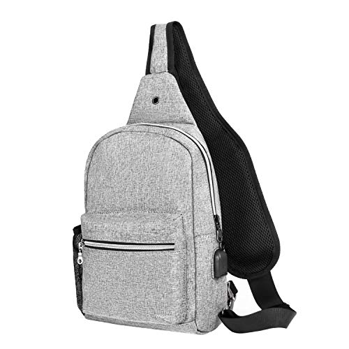 06a9415336b7 Mosiso Sling Bag with USB Charging Port, Lightweight Durable Polyester  Chest Shoulder Crossbody Unbalance Gym Fanny Sack Satchel Outdoor Hiking ...