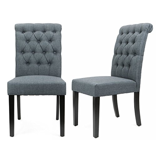 XtremepowerUS Padded Fabric Dining Chair, Set of 2 (Gray)