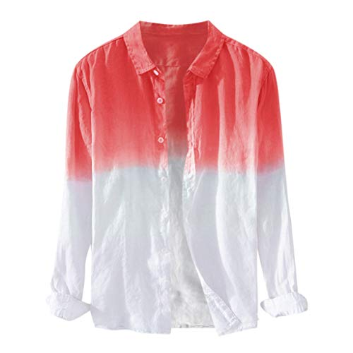 Men's Long Sleeve Linen Shirt Casual Button Down Beach Shirts Breathable Hanging Dyed Tops Tee Blouse Red