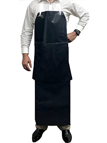 (KLEEN CHEF Premium Heavy Duty PVC Leather Apron, Chemical and Water Resistant Double Layer Apron)