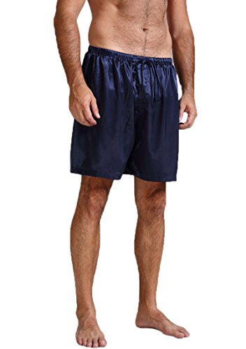 (Mens Silk Satin Pajamas Pyjamas Shorts Lounge Beach Shorts Boxer Navy Blue M)
