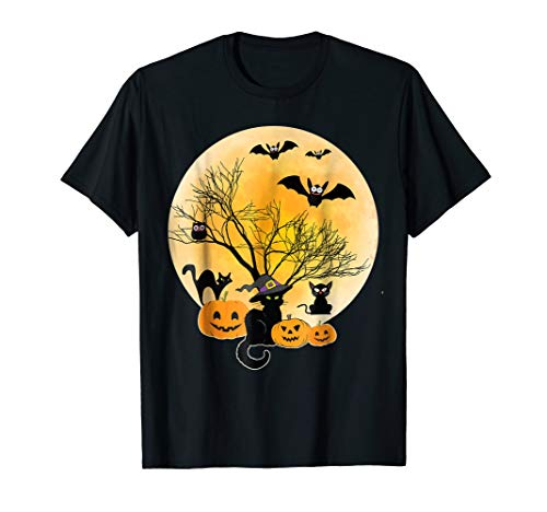 Black Cat Witch Owl Bat Smile Pumpkin Face Tshirt Halloween]()