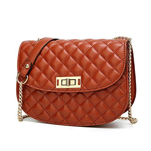 (Quilted Handbags Chain Crossbody Purse Small Shoulder Bags with Turn-lock for Women Girls (Brown) )