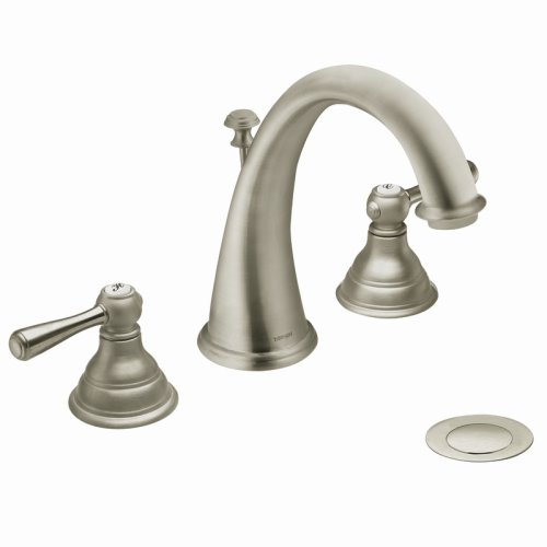 Moen T6125BN Kingsley Two-Handle High-Arc Widespread Bathroom Faucet, Brushed Nickel