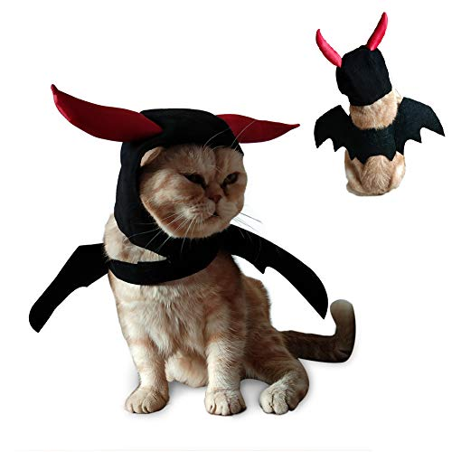 ULIGOTA Cat Costume Bat Wings with Hat Costume for Dogs & Cat Kitten, Cat Costume for Party Decoration ()