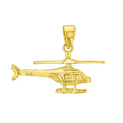 14k Gold Propeller Pendant - Solid 14K Yellow Gold Helicopter with Motion Moving Propeller Pendant