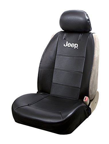 Plasticolor 008581R01 Jeep Logo Universal Fit Car Truck or SUV Sideless 2-Piece Seat Cover w/Head Rest