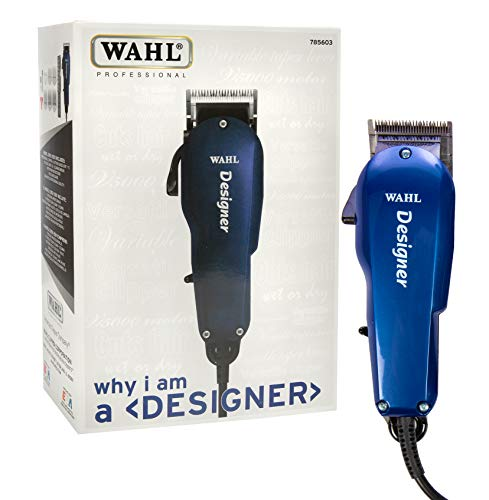 Wahl Professional Designer Clipper #8355-3501, Cuts Hair Wet or Dry, Taper Lever for Easy Fading and Blending, Includes Accessories - Blue