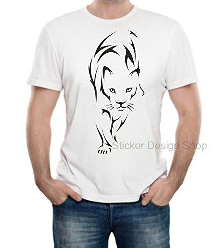 Tiger Löwe Leopard Puma T-Shirt Druck Unisex Baumwolle Fruit of The Loom Weiß