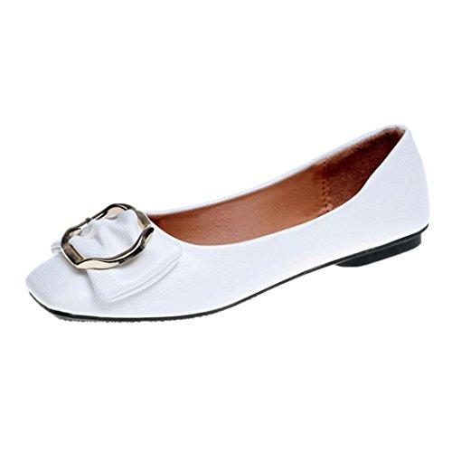Fille Casual Nœud Dame Doux Carrée QinMM Femmes Tête Papillon Mocassin Simple Plat Orteil Chaussures Blanc Tête Mode Dame Bureaux Boutons Ballerines nqxSITwY