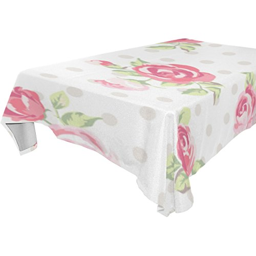U LIFE Floral Roses Small Flowers Polka Dots Washable Tablecloths Table Cloth Cover Protector for Wedding Party Living Room Picnic Rectangle Square Round Tables Multiple Sizes White Polka Rose Square
