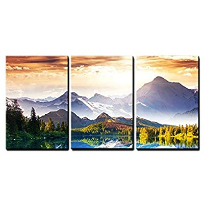 3 Piece Canvas Wall Art - Fantastic Sunny Day is in Mountain Lake. Creative Collage. Beauty World. - Modern Home Art Stretched and Framed Ready to Hang - 24