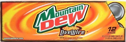 Mountain Dew Live Wire, Dew sparked with orange, 12-pack 12-ounce cans, Fridge Pack Shape