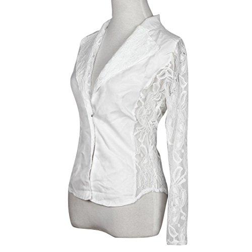 ropa de mujer otoño invierno abrigo chaqueta,RETUROM venta caliente mujeres manga encaje de ganchillo chaqueta pequeño Blazer chaqueta larga Blanco