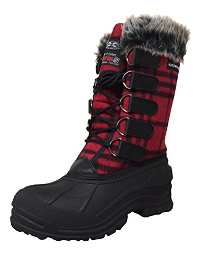 (CLIMATEX Climate X Womens YC4 Snow Boots, Red/Black Plaid, 6 M US)