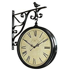 Wall Clock Double Sided Outdoor On Bracket Wrought Iron Train Station Round Clock with Rolling Wall Side Decoration Home Decor Metal