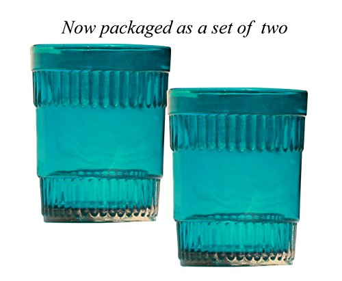 SouvNear Blue Decor Set of 2 Tealight Holders - 2.6' Blue Glass Tea light Holder - Handmade Votive Candle Holders - Table Top Essentials and Home Decor Gifts