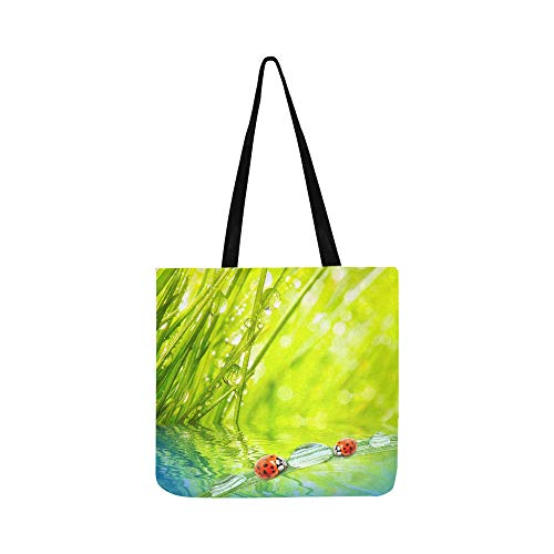Dew On A Spring Grass And Ladybugs Canvas Tote Handbag Shoulder Bag Crossbody Bags Purses For Men And Women Shopping Tote ()