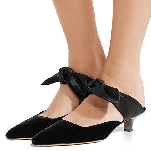 FSJ Women Cute Kitten Low Heels Pumps Closed Toe Mules Sandals Cofmortable Slide Shoes Size 14 Black Velvet by FSJ