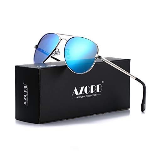 AZORB Polarized Aviator Sunglasses Mirrored Lens Metal Frame for Men Women, 100% UV 400 Protection (Silver Frame/Blue ()