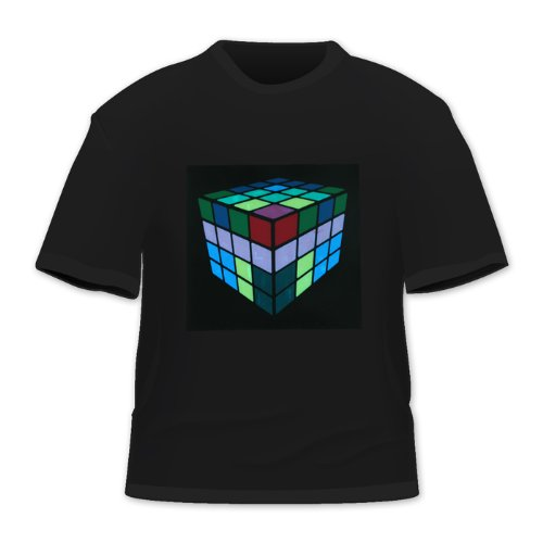 HDE Men's Sound-Activated LED T-Shirt (Multicolor Cube, X-Large)