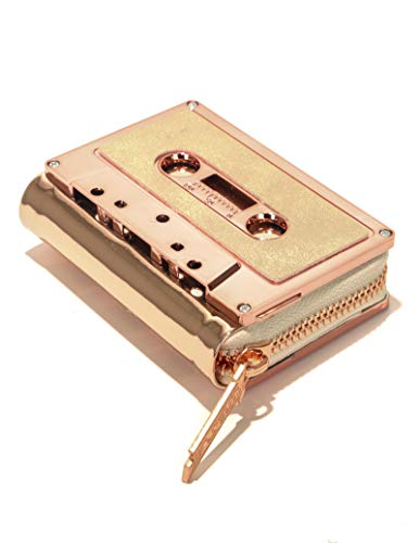 FYDELITY Cassette Tape Wallet -ROSE GOLD Metallic Chrome DUSTER ROSE |For Small Leather Coin Purse/Business Card Holder/Thin Case/Zip/String/Retro/Classic/Rock/Vintage/Artist/Men/Women/Mom/Dad/Gift -