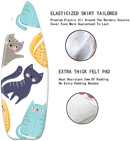 MKMKM Ironing Board Cover, Heat and Scorch Resistance, 100% Cotton Ironing Board Cover, Lovely Cat, Fits Boards Up To 125x45cm