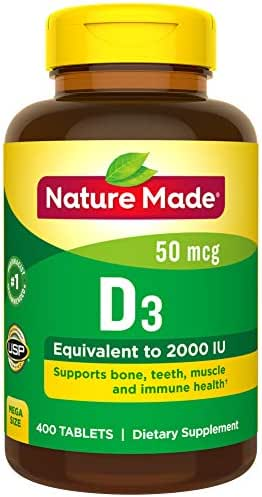 Nature Made Vitamin D3 2000 IU (50 mcg) Tablets, 400 Count for Bone Health† (Packaging May Vary)
